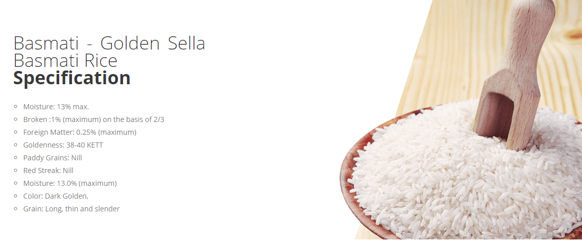 Basmati Golden Sella Basmati Rice Specification