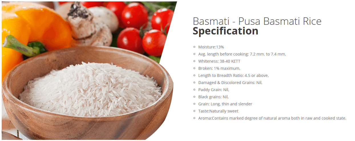 Basmati Pusa Basmati Rice Specification